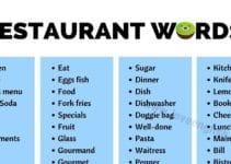 Vocabulary for Restaurants