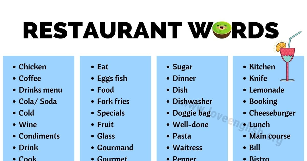 Vocabulary for Restaurants