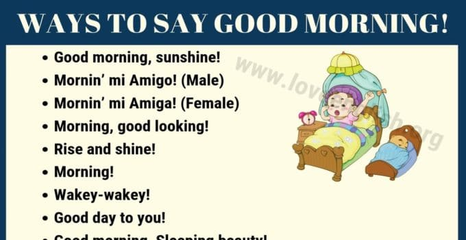 Ways to Say Good Morning