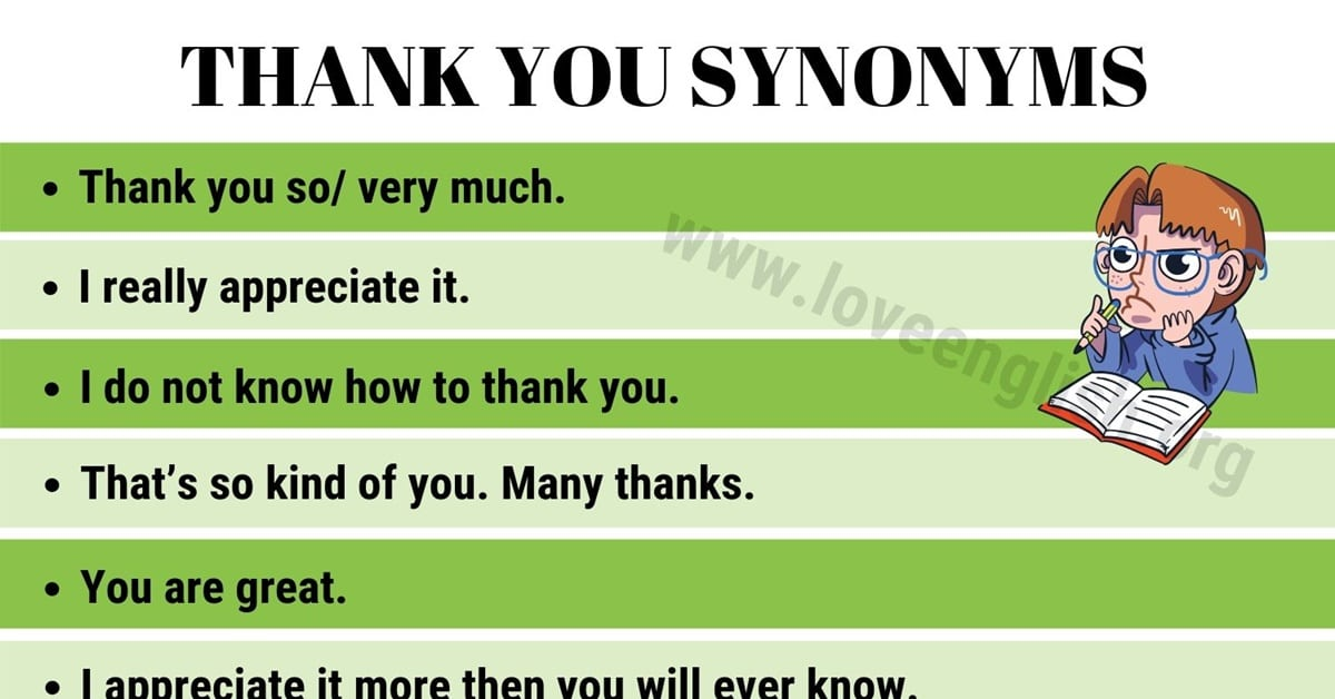 THANK YOU Synonym: 50 Creative Ways to Say Thank You - Love English