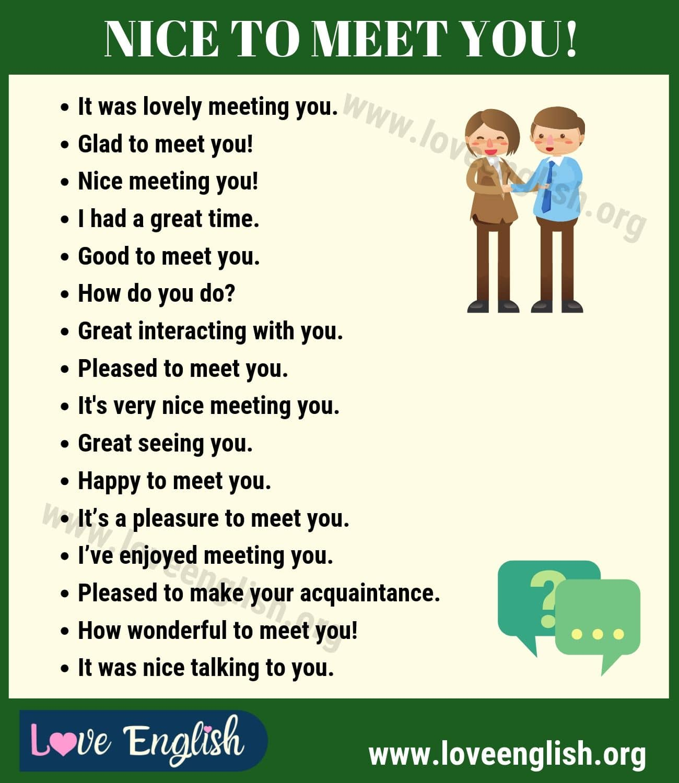 Ways to Say Nice to Meet You