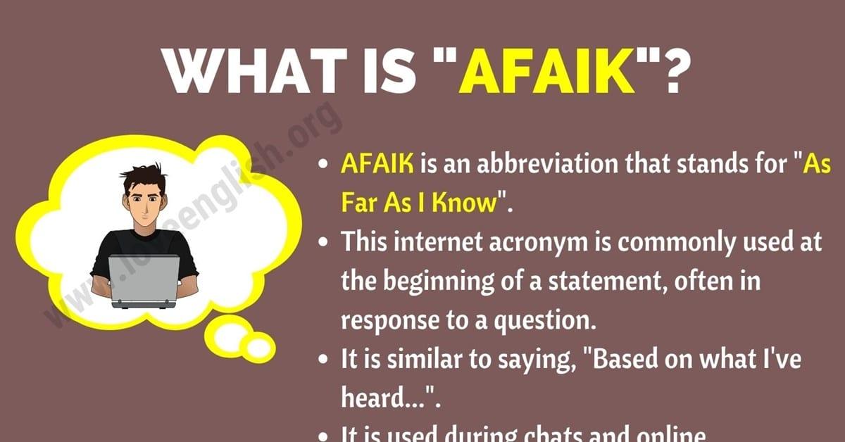 AFAIK Meaning