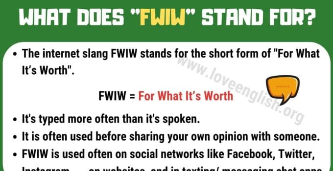 FWIW Meaning
