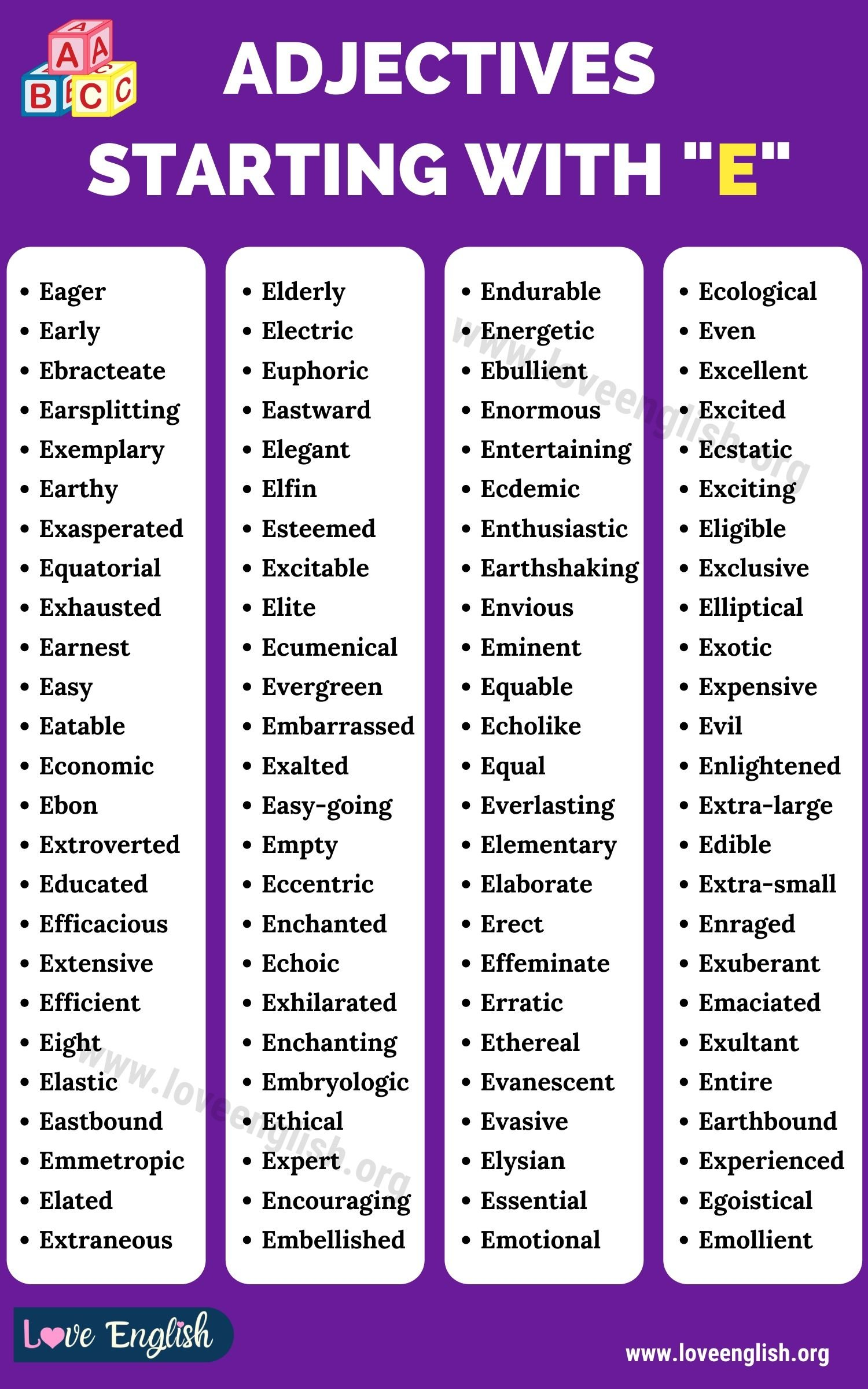 Adjectives that Start with E