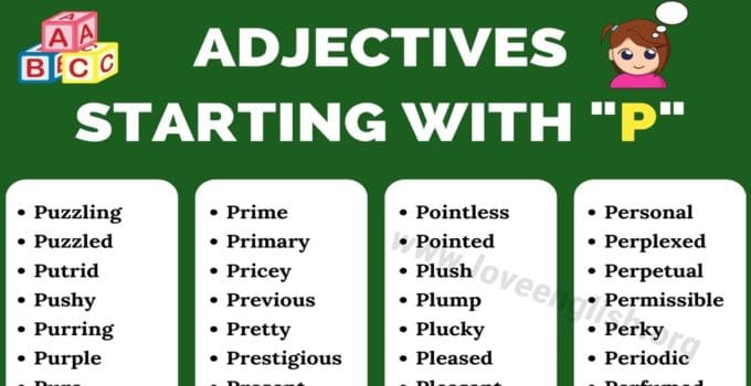 Adjectives that Start with P