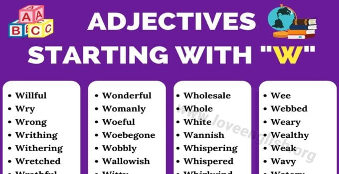 Adjectives that Start with W