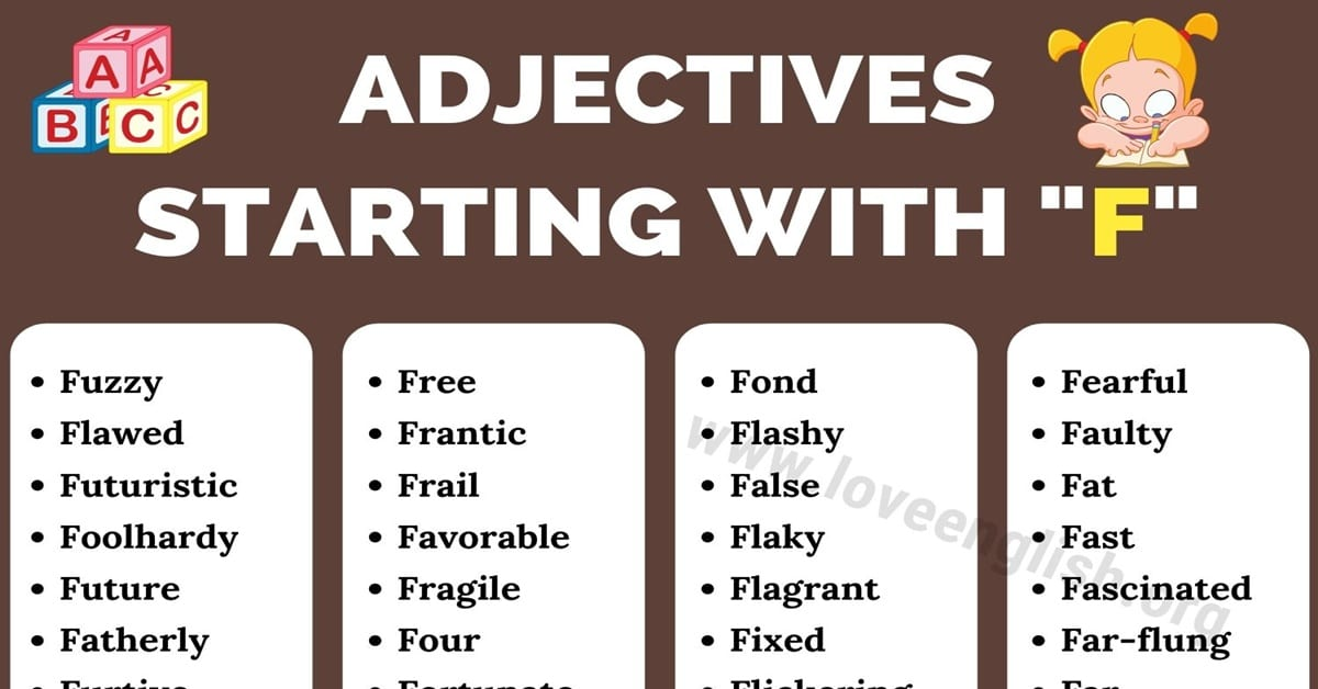 Adjectives that Start with f