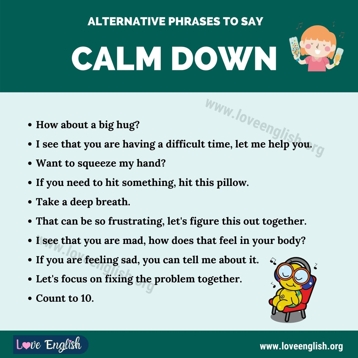 "Alternative Phrases to Say ""Calm Down"""