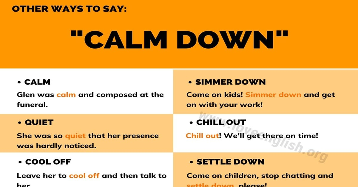 """Ways to Say """"Calm Down"""""""