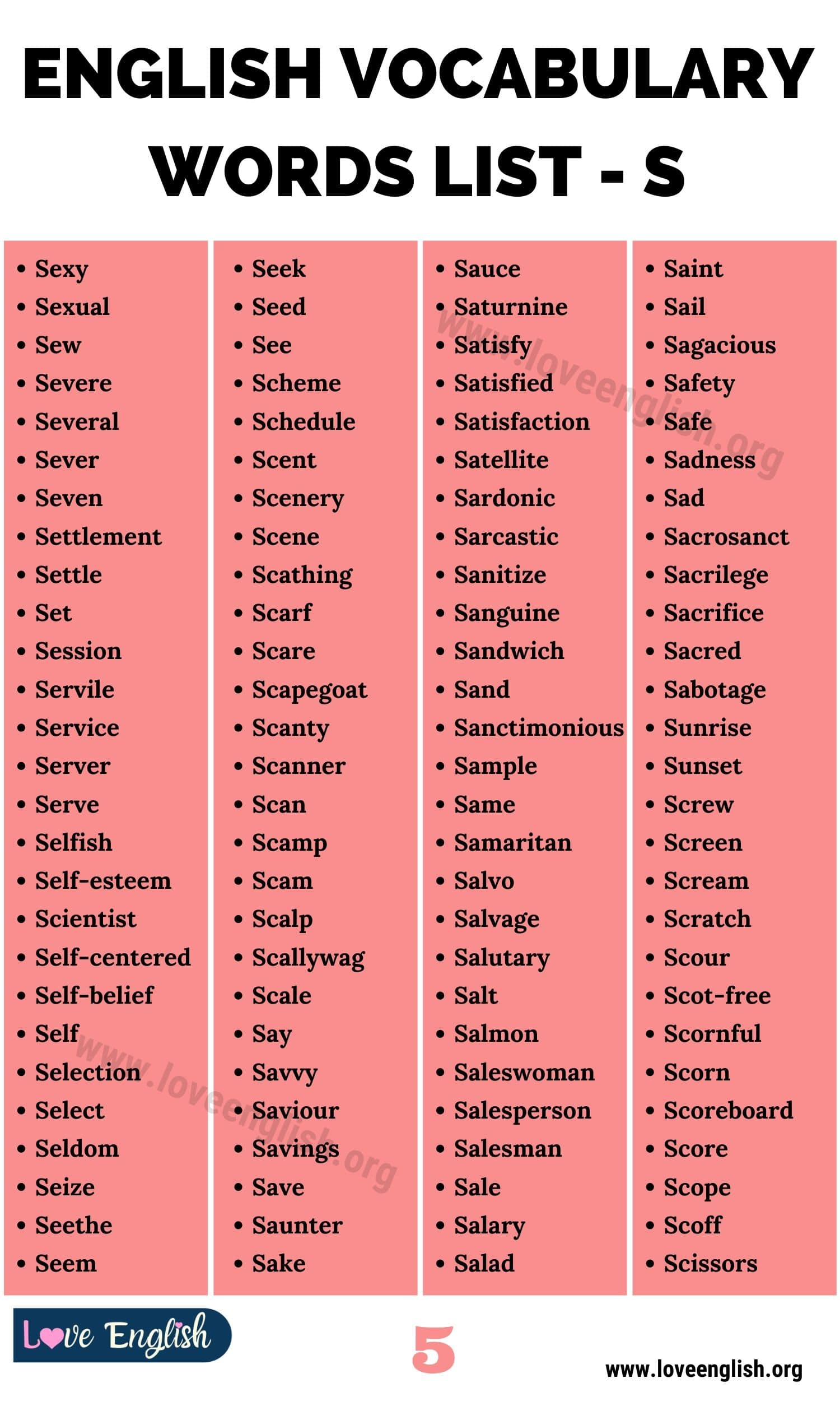 Words that Start with S