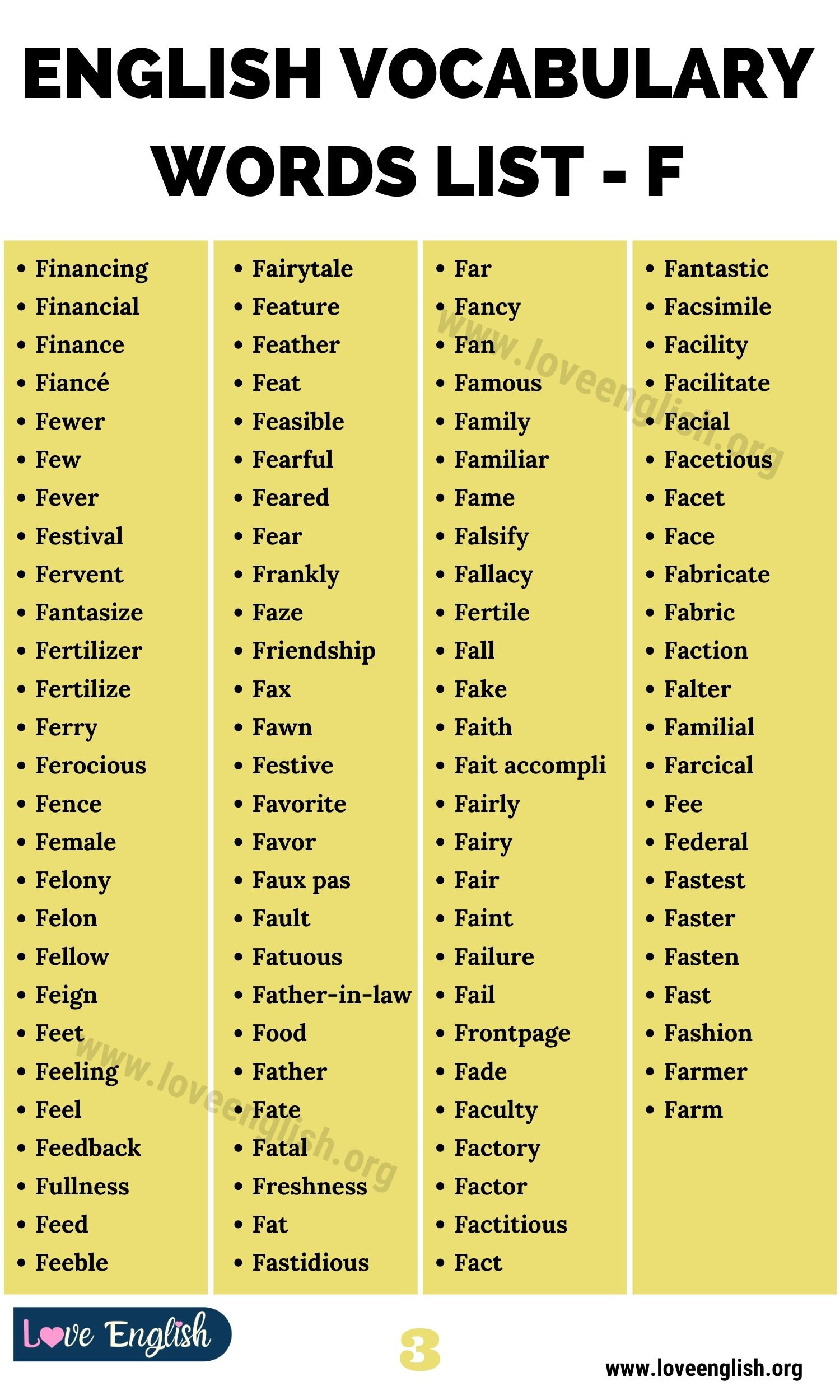Words that Start with F